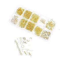 Dophee 1Set Jewellery Making Starter Kit Beads Head Pins Chain Findings Handmade Accessory, Gold