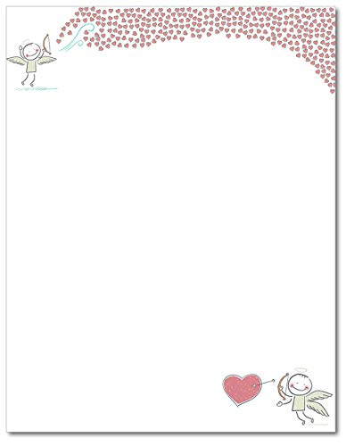 Stationery Valentine (Bow and Arrow Heart of Love Stationery Paper - 80 Sheets)