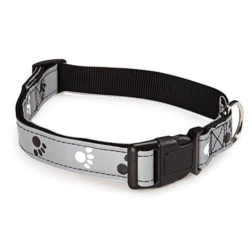 Casual Canine Reflect Pawprint Dog Collar, Fits Necks 18