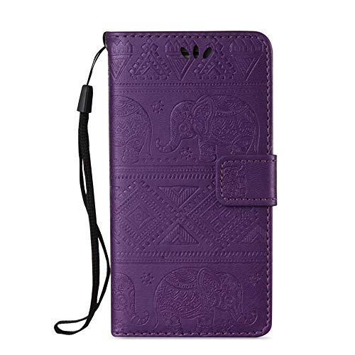 Twinlight Coque Elephant Case for Apple iPhone X XR XS MAX 7 8 Wallet Phone Cover Card Slot Fundas Capa DP02Z (Purple, for iPhone Xs Max) (Sena Iphone 4s Leather Case)
