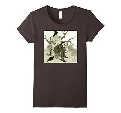Womens Edgar Allan Poe Lenore Poem Poet Poetry T-Shirt Tee Large Asphalt