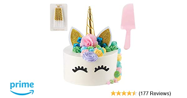 Unicorn Cake Topper | Handmade | Includes 10 Gold Swirl Candles & Cake  Cutter | Includes Eye Lashes | Unicorn Party Supplies | Unicorn Cake