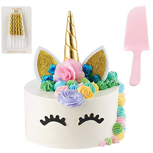 Unicorn Cake Topper | Handmade | Includes 10 Gold Swirl Candles & Cake Cutter | Includes Eye Lashes | Unicorn Party Supplies | Unicorn Cake Decorations For Girls, Birthday Party, Baby Shower & Wedding ()