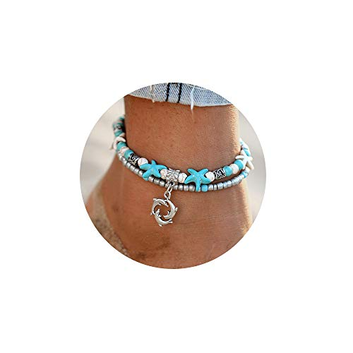 - FINETOO Dolphin Blue Boho Starfish Beach Bracelet Anklet Beaded Anklet Shell Multi-Layer Anklets Jewelry Gifts for Girls