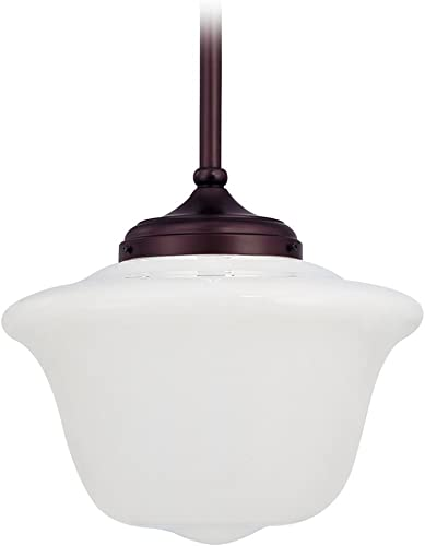 14 Inch Hanging Schoolhouse Pendant Light in Bronze Finish and Opal White Glass Shade