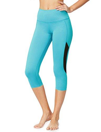 Baleaf Women's High Waist Tummy Control Mesh Yoga Capri Leggings Blue Size M - New Yoga Pants