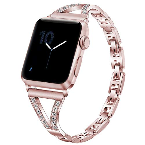 Honey 4mm - PUGO TOP Compatible with Apple Watch Bracelet Band 40mm Series 4 38mm Series 3/2/1 Iwatch Bangle Band Cuff Women Stainless Steel Bling Iwatch Band Wristband Strap with Rhinestones(38/40mm, Rose Gold)