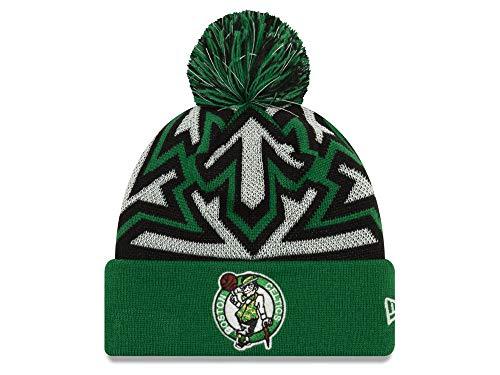 - New Era Boston Celtics Green Cuff Glowflake Beanie Hat with Pom - NBA Glow in Dark Cuffed Winter Knit Cap