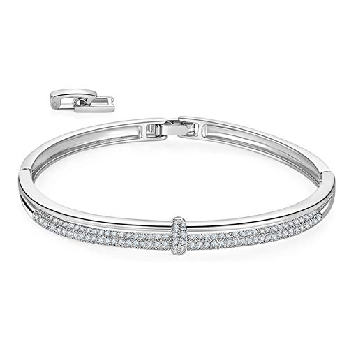 MILATU Bangle Bracelets 2 Row 3A Cubic Zirconia Paved,Platinum-Plated Bracelet 2 Buckle Adjustable Bracelet Jewelry Gift for Women Girls