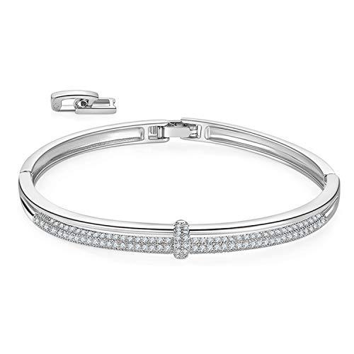 (MILATU Bangle Bracelets 2 Row 3A Cubic Zirconia Paved,Platinum-Plated Bracelet 2 Buckle Adjustable Bracelet Jewelry Gift for Women Girls)