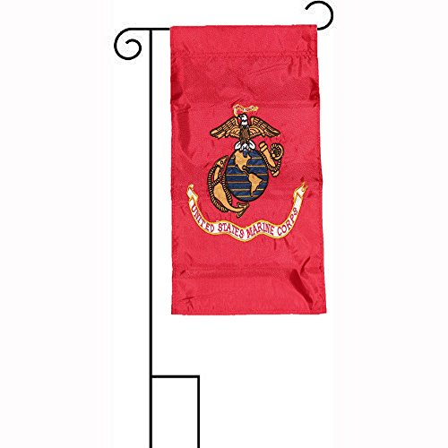 ALBATROS 12 in x 18 in Embroidered U.S. EGA Marines USMC Sleeved with Garden Stand Flag for Home and Parades, Official Party, All Weather Indoors Outdoors ()