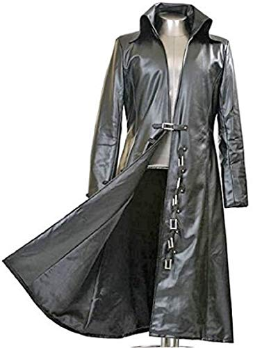 Gothic_Master Black Faux Leather Long Trench Coat (S) ()