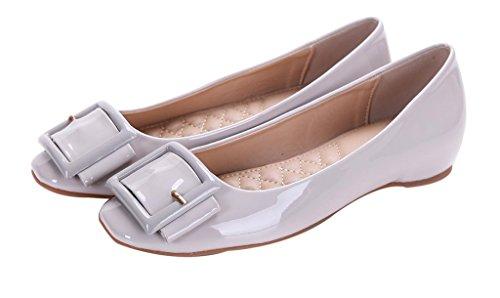 CAMSSOO Frauen Cute Square Toe Bow Wohnungen Damen Patent PU Loafer Schuhe 3 # hellgraues Patent Pu