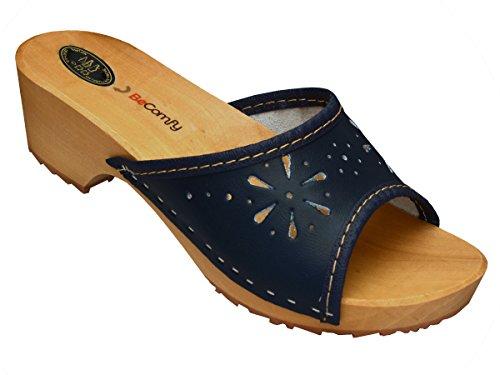 BeComfy Damen Clogs Holzschuhe Leder Holz Pantoletten mit Absatz Sandalen Bunte Farben Modell VK10 Marineblau