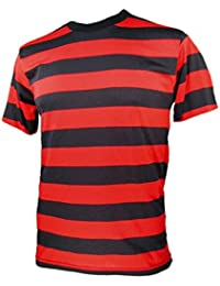 Men's Short Sleeve Striped Shirt Red Black