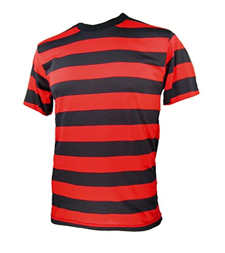 Adult Men's Short Sleeve Striped Shirt Red Black 2XL (XX-Large)