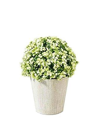 Pflanze Künstlich   Kleine Kunstpflanze Deko / Blütenkugel Im Grauen Topf    Höhe: 19cm