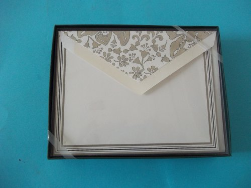 William Arthur 22-B53968 Painted Damask Double Border Printer Compatible 10 With Lined Envelopes 5 1/2