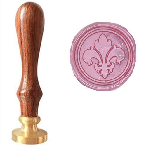 - MDLG Vintage Fancy Fleur-de-lis Picture Logo Wedding Invitation Wax Seal Sealing Stamp Rosewood Handle Set Kit (Stamp Only)