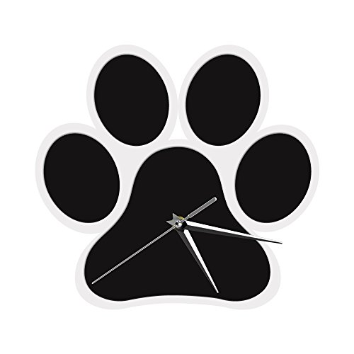 The Geeky Days Dog Paw Design Black Wall Clock 3D Wall Clock Dog Foot Theme Decorative Time Clock Creative Modern Home Decor Animals Wall Clock by The Geeky Days