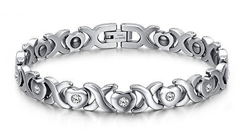 (Womens X & Heart Stainless Steel Healthy Magnet Therapy Bracelet with Free Link Removal Tool,8