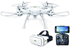 Easy-to-fly HD camera drone with our premium Promark VR 3D Goggles (included). With its own built-in Wi-Fi signal, the P70-VR Virtual Reality drone allows you to stream, record, and photograph live 720p HD footage direct to your smartphone vi...