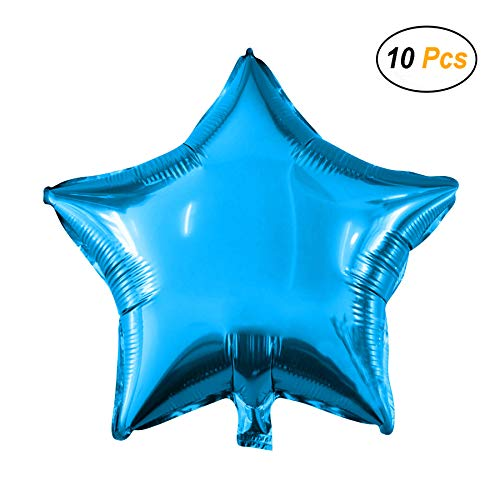 18 Star Balloons Foil Balloons Mylar Balloons for Party Decorations Party Supplies, Blue, 10 Pieces