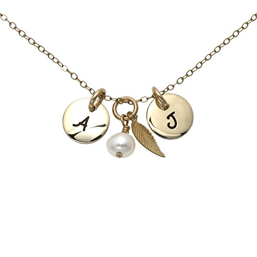 AJ's Collection Personalized Gold Filled Initial Necklace. Customize 2 Gold Filled Charms With Initials. Choice of Gold Plated Chain Idea For Your Significant Other. Gold Plated Over Sterling Silver