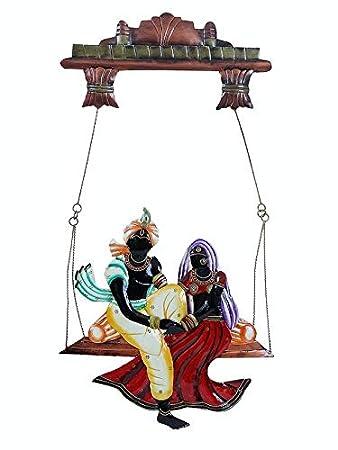 aac51182b26 Karigaari India Wrought Iron Decorative Radha Krishna Under Swing Wall  Hanging Showpiece I Radha Krishna Jhula