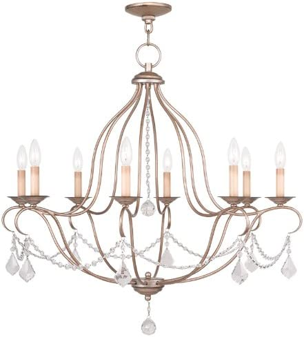 Livex Lighting 6428-73 Chesterfield 8 Light Chandelier, Hand Painted Antique Silver Leaf