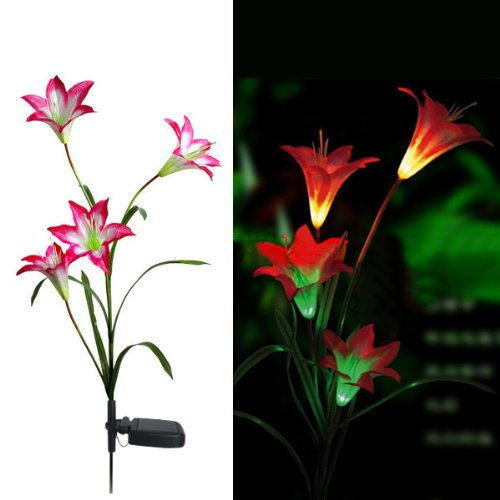 Tzou MaxSale Solar LED Lily Flower Light Color Changing Energy Saving LED Lamp
