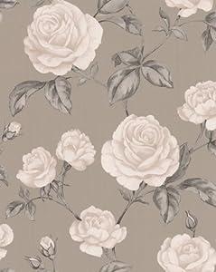 Boutique Countess Wallpaper Brown Cream Grey Amazoncouk - Brown and cream wallpaper