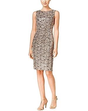 Calvin Klein Women's Petite Lace Ruched Sheath Dress