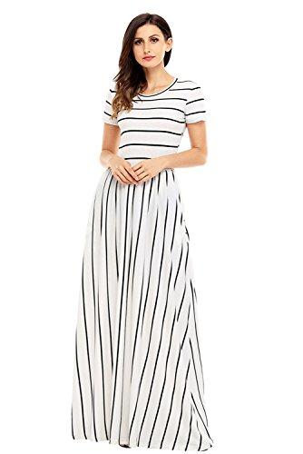 Lovezesent Women's Striped Round Neck Short Sleeve Maxi Summer Casual Dress X-Large Black