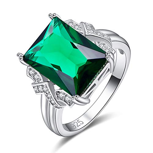 - Humasol 925 Sterling Silver Filled Cubic Zirconia Radiant Emerald Quartz Engagement Band Ring for Women Girl