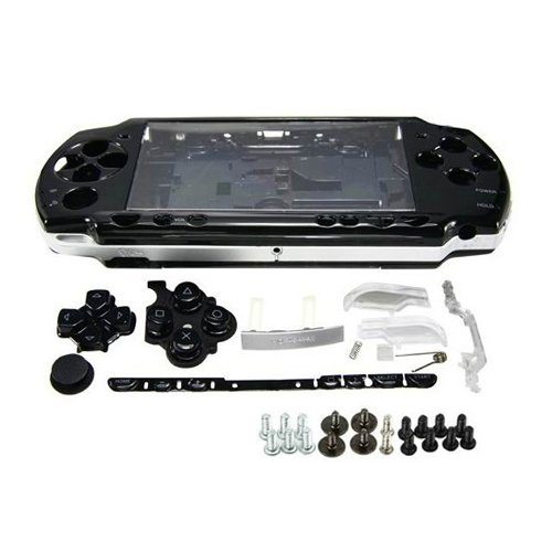 Psp Replacement Parts - OSTENT Full Housing Shell Faceplate Case Parts Replacement Compatible for Sony PSP 2000 Console Color Black