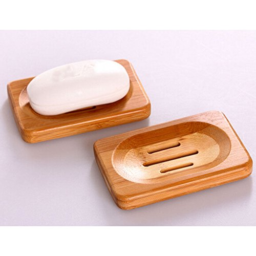 [Terrific Natural Bamboo Soap Dish Storage Holder Bath Shower Plate Bathroom USJB] (Loofah Costume Materials)