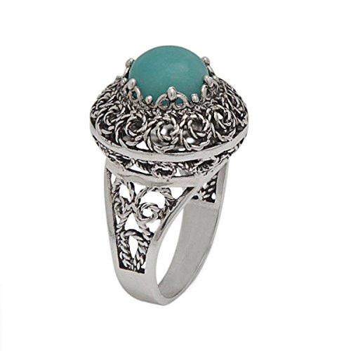 Genuine Blue Amazonite 925 Sterling Silver Filigree Dome Ring (Sizes 6 - 11) (8)