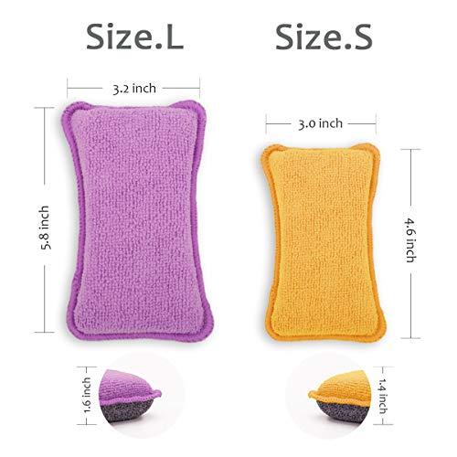 UPSTAR Microfiber Scrubber Sponge, Non-Scratch Kitchen Scrubbies, Dishwashing and Bathroom Sponges, Size.L Pack of 6