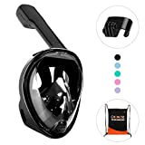 Full Face Snorkel Mask CHOMOSE 180 Degree Panoramic View Snorkeling Mask with Removable GoPro Mount and Easy Breathing Anti-Fog Anti-Leak Adjustable Head Band Design for Adults Or Kids