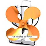 Heat Powered 4 Brass Colored Blade Stove Fan From Boone Hearth for Wood Stoves. FREE Stove Thermometer Included.