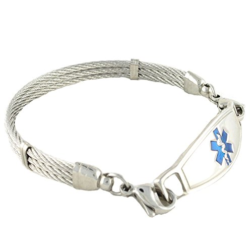N Style ID Women's Personalized Medical Alert Bracelet Stainless Steel Banpo Cable Blue Symbol 7.25 by N-Style ID