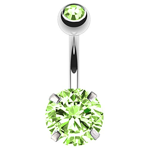 BodyJ4You Belly Button Ring Large Round Green CZ Crystal 14G Navel Barbell Banana Body Jewelry ()