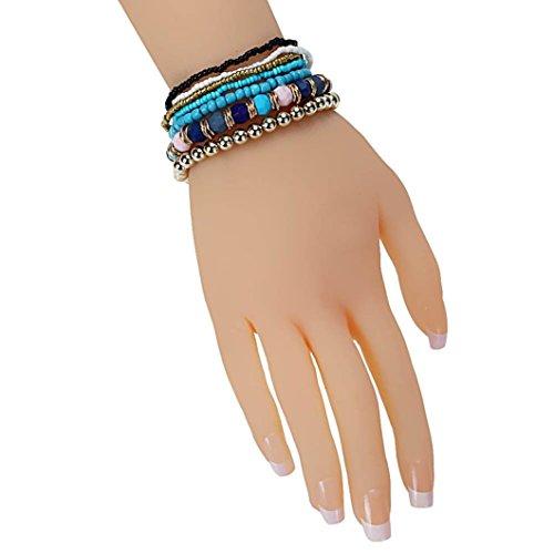 Creazy 7PCS/Set Women Multilayer Acrylic Beads Bangle Bracelets Beach