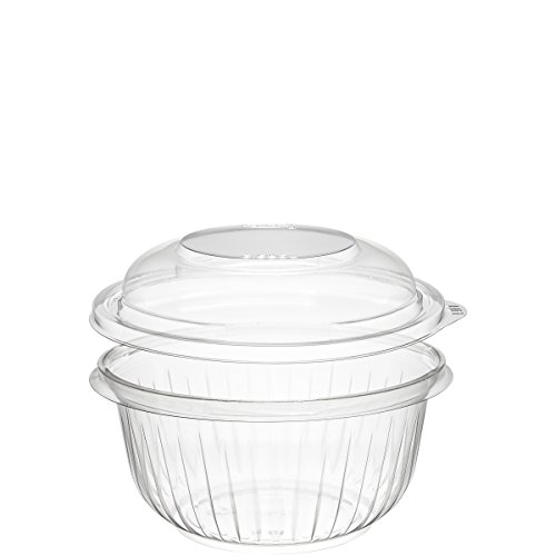 Dart PET16BCD 16 oz Clear PET Bowl with Dome Lid (Case of 252 Bowls - Ounce Bowl 16