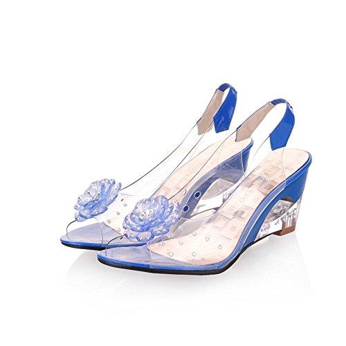 Cuña Punta Negro Para Casual Rojo E Con Tacón Azul Amarillo Mujer Shinik Alto Blanco Transparentes De Tamaño 43 Abierta Zapatos Sandalias color wp0fF