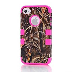 DUR Camo Grass Hybrid Impact Phone Cover Case Full Body for Apple iPhone 4/4S , Black