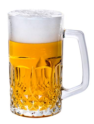 Traditional Crystal Clear - Lead Free - Beer Mug Glasses, Set of 4-21oz.
