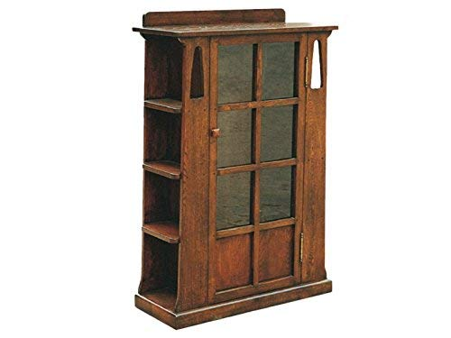 Crafters and Weavers Arts and Crafts Mission Oak Bookcase with Cut Outs and Side Shelves