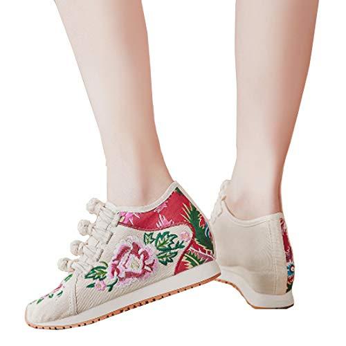Sports Yefree Style Des Aux Femmes Simples Beige Chinois Décontractées Brodées Chaussures 8OXNkwPn0